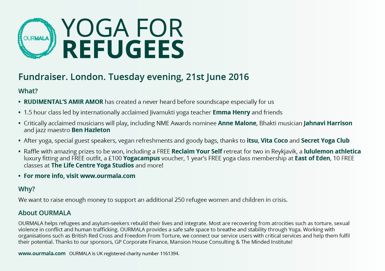 A5 Flyer_Ourmala Yoga for Refugees Final_EMAIL V2 P1